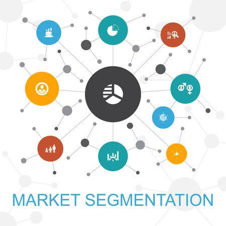 market segmentation trendy web concept with icons. Contains such icons as demography, segment, Benchmarking 向量圖像
