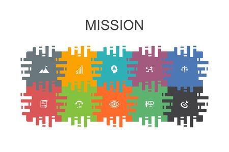 Mission cartoon template with flat elements. Contains such icons as growth, passion, strategy