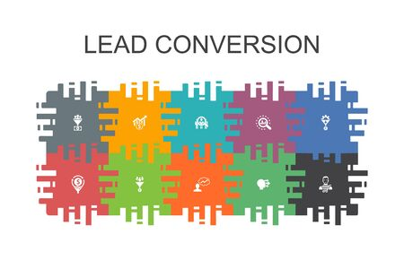 lead conversion cartoon template with flat elements. Contains such icons as sales, analysis, prospect Vettoriali