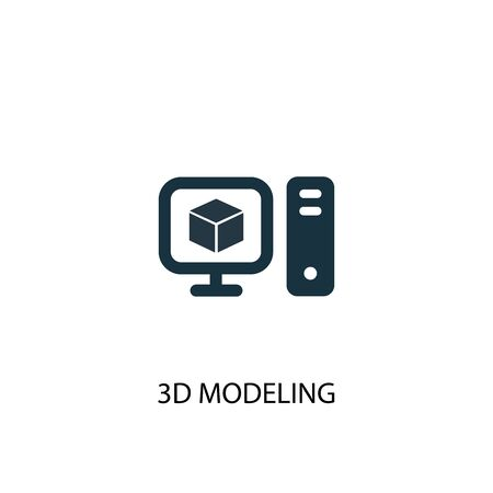 3d modeling icon. Simple element illustration. 3d modeling concept symbol design. Can be used for web