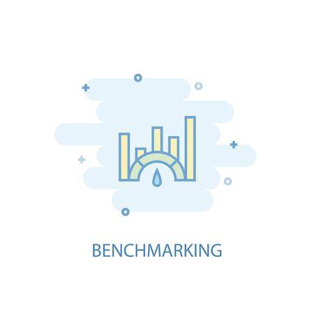 Benchmarking line concept. Simple line icon, colored illustration. Benchmarking symbol flat design Ilustrace