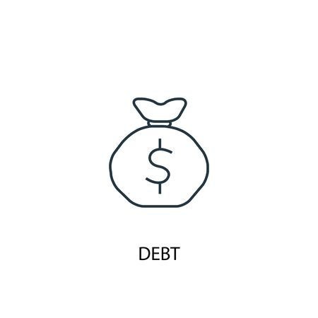Debt concept line icon. Simple element illustration. Debt concept outline symbol design. Can be used for web and mobile