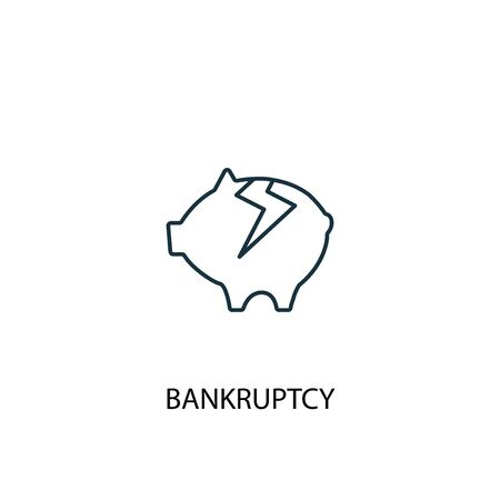 Bankruptcy concept line icon. Simple element illustration. Bankruptcy concept outline symbol design. Can be used for web and mobile