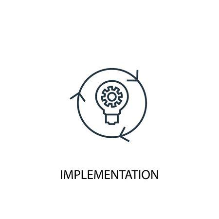 icône de ligne de concept de mise en œuvre. Illustration d'élément simple. conception de symbole de contour de concept de mise en œuvre. Peut être utilisé pour le Web et le mobile Vecteurs