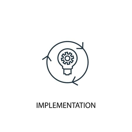 implementation concept line icon. Simple element illustration. implementation concept outline symbol design. Can be used for web and mobile Vector Illustratie