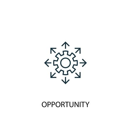 Gelegenheit Konzept Symbol Leitung. Einfache Elementabbildung. Gelegenheit Konzept Gliederung Symbol Design. Kann für Web und Mobile verwendet werden