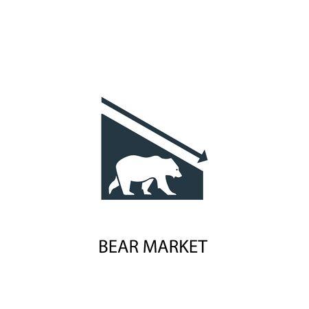 Icône du marché baissier. Illustration d'élément simple. Conception de symbole de concept de marché aux ours. Peut être utilisé pour le Web Vecteurs