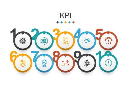 KPI Infographic design template optimization, objective, measurement, indicator simple icons