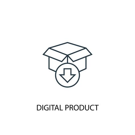 digital product concept line icon. Simple element illustration. digital product concept outline symbol design. Can be used for web and mobile Foto de archivo - 130217226