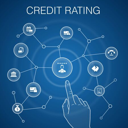 credit rating concept, blue background.Credit risk, Credit score, Bankruptcy, Annual Fee Ilustração