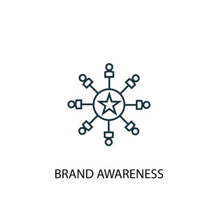 Brand Awareness concept line icon. Simple element illustration. Brand Awareness concept outline symbol design. Can be used for web and mobile