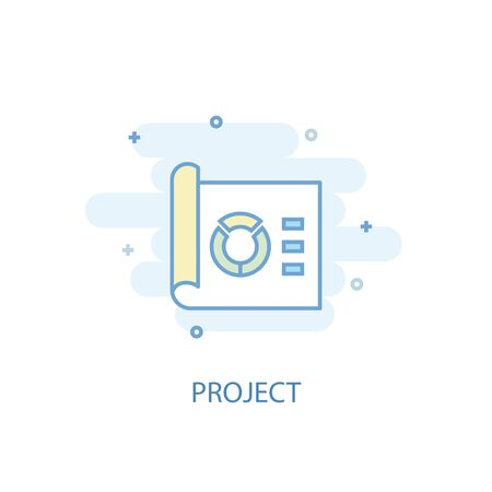 project line concept. Simple line icon, colored illustration. project symbol flat design