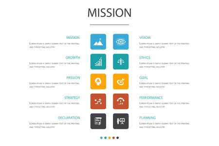 Mission Infographic cloud design template.growth, passion, strategy, performance icons Ilustrace
