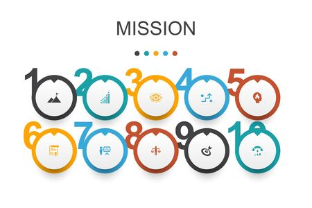 Mission Infographic design template.growth, passion, strategy, performance icons