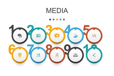 media Infographic design template.news, reporter, Infographics, media plan icons