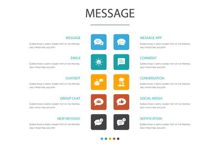 message Infographic cloud design template.emoji, chatbot, group chat, message app icons Vector Illustration