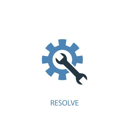 resolve concept 2 colored icon. Simple blue element illustration. resolve concept symbol design. Can be used for web and mobile