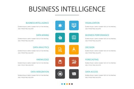 Business intelligence Infographic 10 option concept.data mining, knowledge, visualization, decision simple icons
