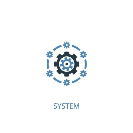 system concept 2 colored icon. Simple blue element illustration. system concept symbol design. Can be used for web and mobile  イラスト・ベクター素材