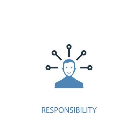 concepto de responsabilidad 2 icono de color. Ilustración simple elemento azul. diseño de símbolo de concepto de responsabilidad. Se puede utilizar para web y móvil. Ilustración de vector