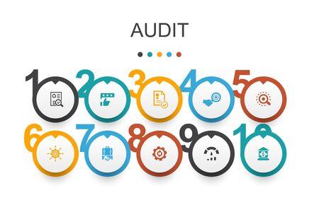 audit Infographic design template.review, standard, examine, process simple icons Ilustração