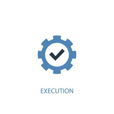 Ausführungskonzept 2 farbiges Symbol. Einfache blaue Elementillustration. Ausführungskonzept Symboldesign. Kann für Web und Mobile verwendet werden