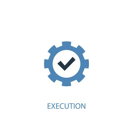 execution concept 2 colored icon. Simple blue element illustration. execution concept symbol design. Can be used for web and mobile