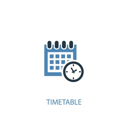 timetable concept 2 colored icon. Simple blue element illustration. timetable concept symbol design. Can be used for web and mobile