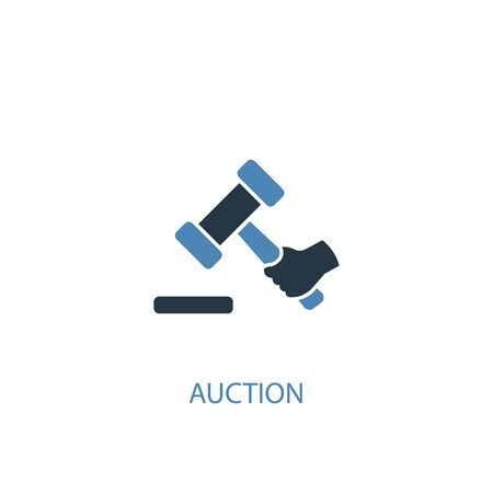Auction concept 2 colored icon. Simple blue element illustration. Auction concept symbol design. Can be used for web and mobile 版權商用圖片 - 130217566