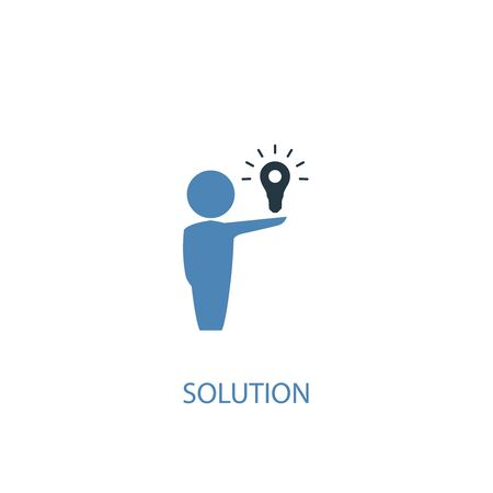 Solution concept 2 colored icon. Simple blue element illustration. Solution concept symbol design. Can be used for web and mobile