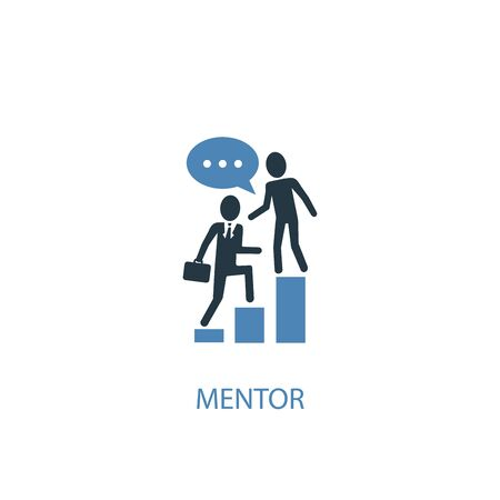 mentor concept 2 colored icon. Simple blue element illustration. mentor concept symbol design. Can be used for web and mobile Vetores