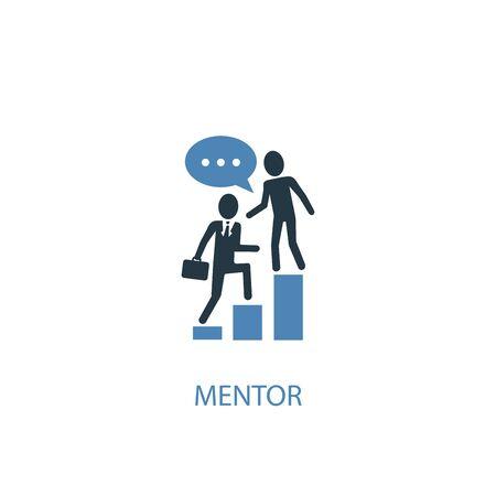 mentore concetto 2 icona colorata. Illustrazione semplice dell'elemento blu. disegno di simbolo del concetto di mentore. Può essere utilizzato per web e mobile Vettoriali