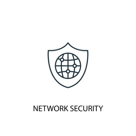 network security concept line icon. Simple element illustration. network security concept outline symbol design. Can be used for web and mobile