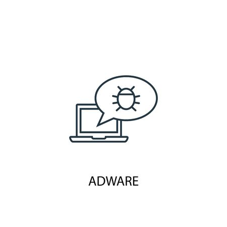 Adware concept line icon. Simple element illustration. Adware concept outline symbol design. Can be used for web and mobile