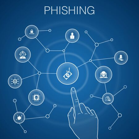 phishing concept, blue background.attack, hacker, cyber crime, fraud icons 向量圖像