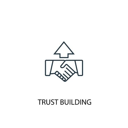 trust building concept line icon. Simple element illustration. trust building concept outline symbol design. Can be used for web and mobile