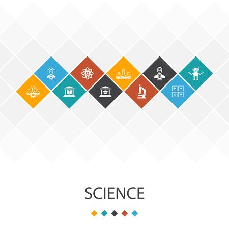 Science trendy UI template infographics concept. invention, physics, laboratory, icons