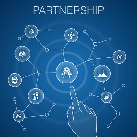 Partnership concept, blue background.collaboration, trust, deal, cooperation icons Ilustração