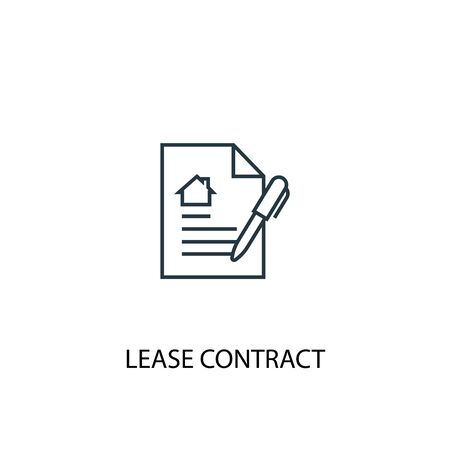 Lease contract concept line icon. Simple element illustration. Lease contract concept outline symbol design. Can be used for web and mobile
