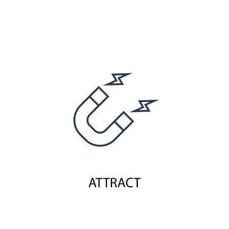 attract concept line icon. Simple element illustration. attract concept outline symbol design. Can be used for web and mobile