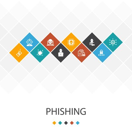 phishing trendy UI template infographics concept. attack, hacker, cyber crime, icons Stock fotó - 130218736