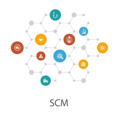 SCM presentation template, cover layout and infographics. management, analysis, distribution, icons