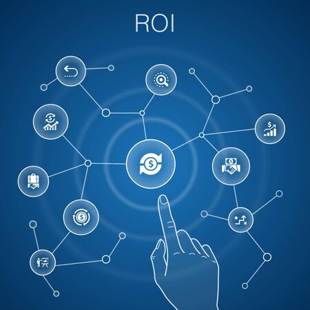 ROI concept, blue background.investment, return, marketing, analysis icons