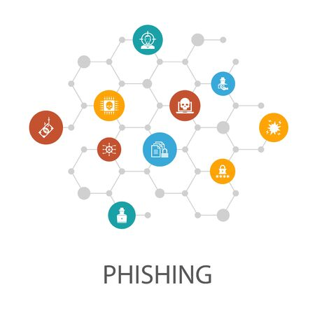phishing presentation template, cover layout and infographics. attack, hacker, cyber crime, icons 向量圖像