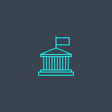 authority concept blue line icon. Simple thin element on dark background. authority concept outline symbol design. Can be used for web and mobile Çizim