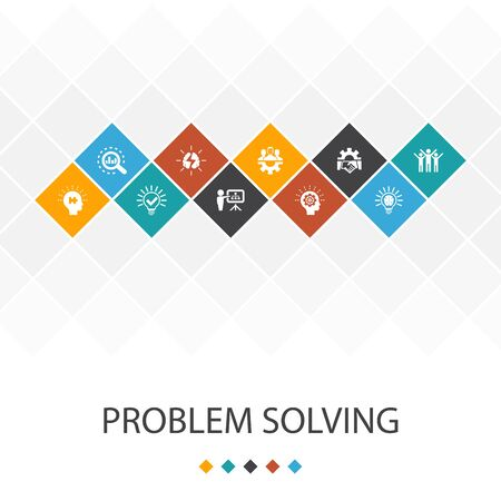 problem solving trendy UI template infographics concept. analysis, idea, brainstorming, icons