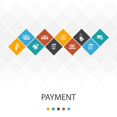 payment trendy UI template infographics concept. Invoice, money, bill, icons