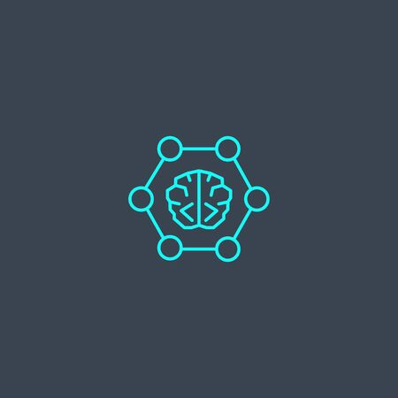 neural networks concept blue line icon. Simple thin element on dark background. neural networks concept outline symbol design. Can be used for web and mobile