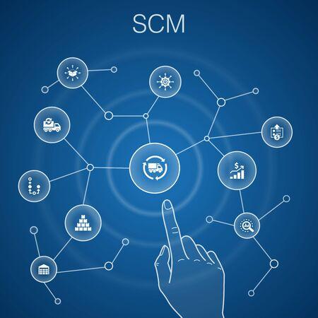 Koncepcja SCM, niebieskie tło proste ikony linii