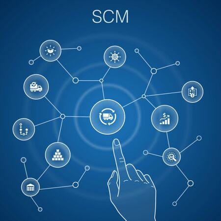 SCM concept, blue background simple line icons